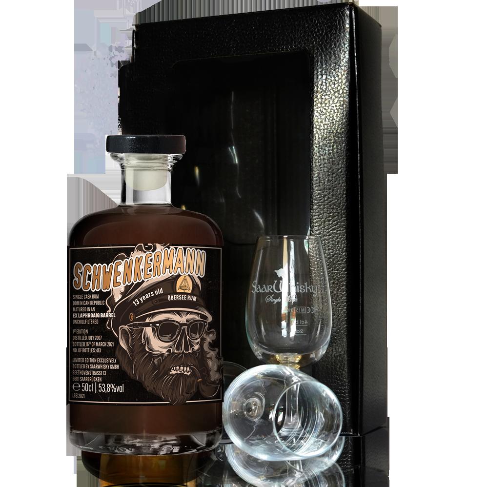 """Schwenkermann Übersee Rum Geschenkbox <br> <p style=""""font-size: 22px""""> – Single Cask Rum im Laphroaigfass gereift-</p>"""